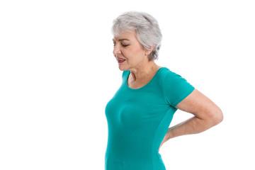 Ältere Frau isoliert hat Schmerzen im Rücken