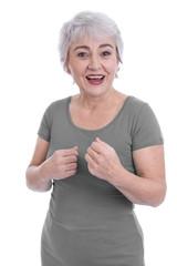 Lachende glückliche ältere Frau mit Elan