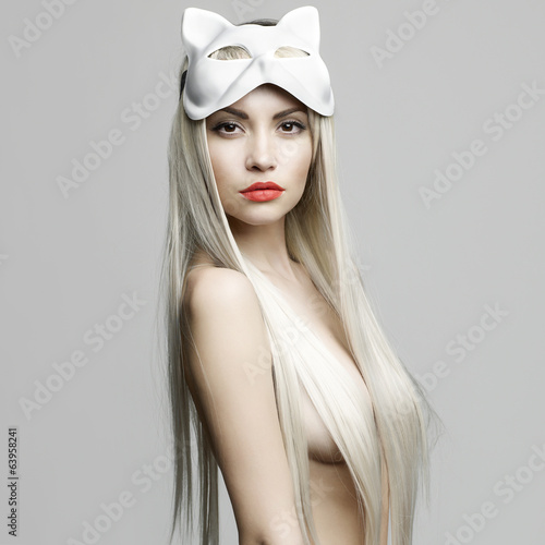 canvas print picture Sexy blonde in cat mask
