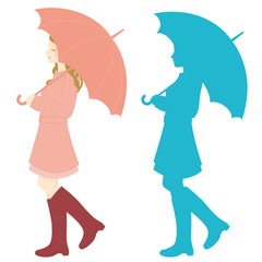 傘をさす女性 雨の日サービスデー 広告用