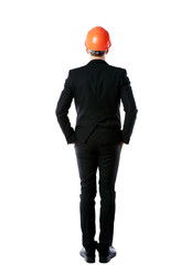 businessman in orange helmet standing