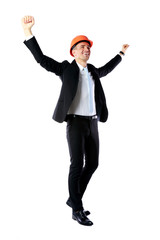 cheerful businessman with hands raised