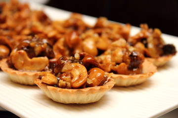 mini Mixed nuts pie on white