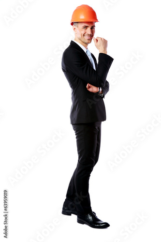 cheerful businessman standing