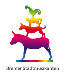 Bremer Stadtmusikanten in Regenbogenfarben