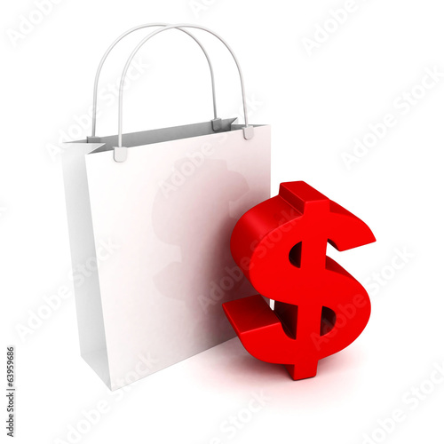 Shopping bag with red dollarcurrency symbol