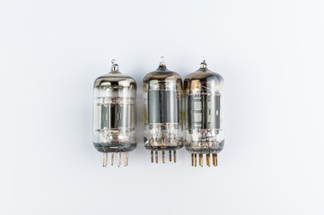 Vacuum tubes on white background.