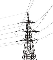electrical pylon isolated on white background