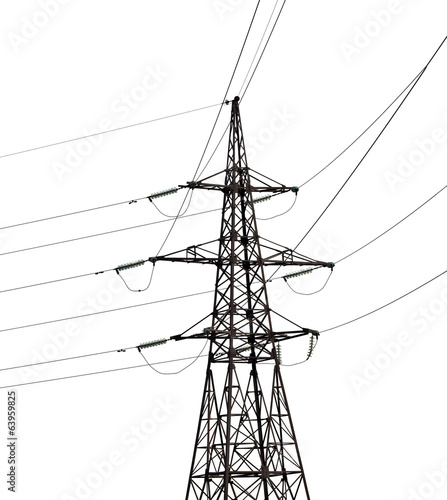 electrical pylon isolated on white background
