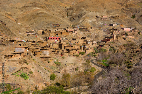 Traditional berber village in Atlas Mountain, Morocco, Africa