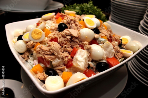 salad with tuna, eggs and vegetables.