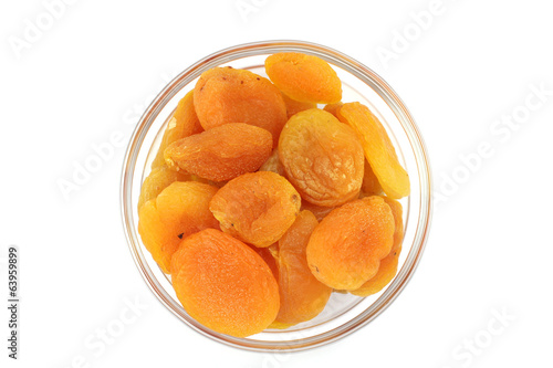 juicy fruits dried apricots on a white background