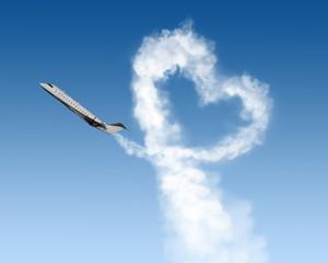 heart shape track from plane in sky