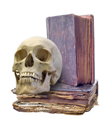 skull and two old books on white