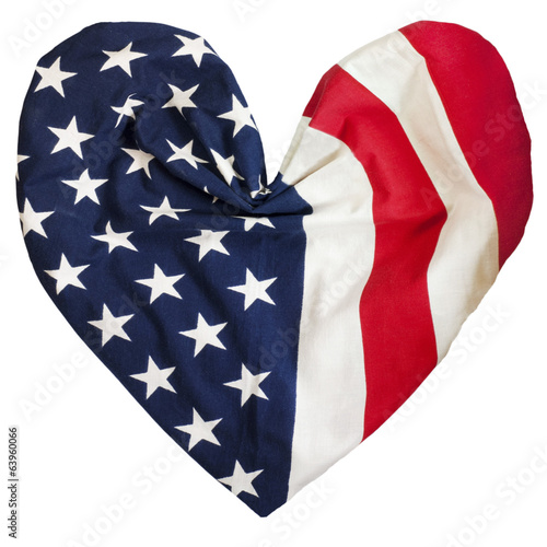 American flag, heart shape