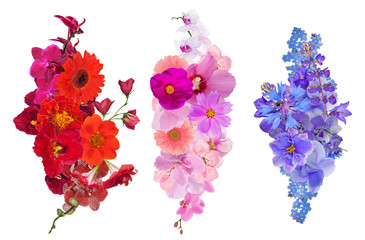 set of three flower decorations isolated on white
