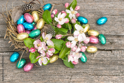 easter eggs and apple blossoms