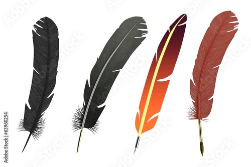 realistic 3d render of writing quills
