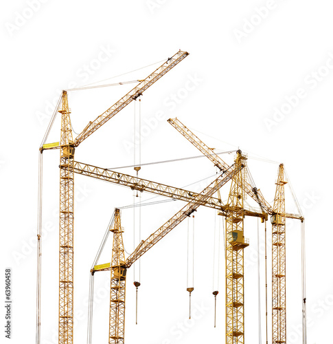 group of four yellow hoisting cranes isolate on white