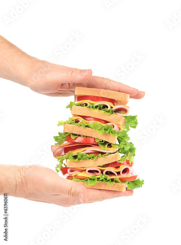 Hands holding tasty sandwich.