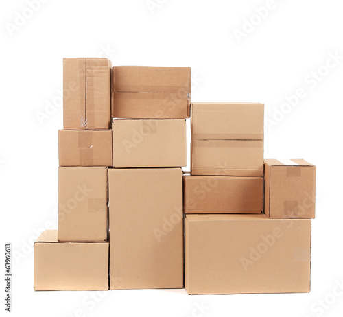 Stack of cardboard boxes.