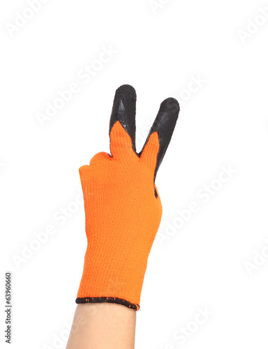 Hand in rubber glove shows two.