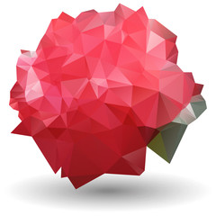 Abstract red rose in origami style on white background