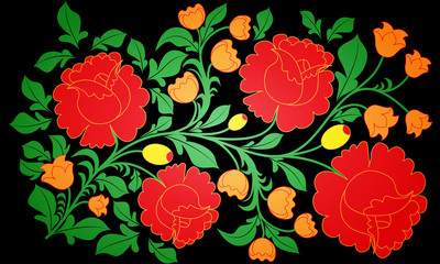 Bright large roses. Pastiche of Russian pattern khokhloma