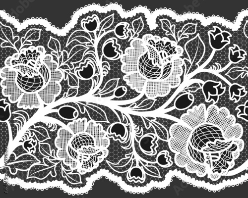 Abstract seamless white lace ribbon