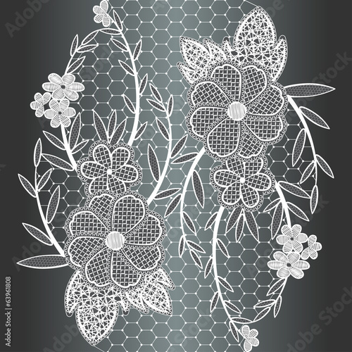 Seamless white floral lace ribbon.