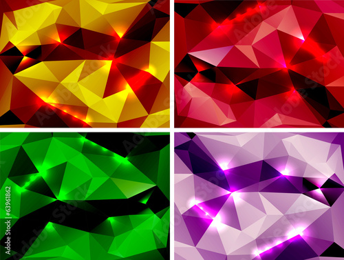 Set of abstract colorful backgrounds polygonal