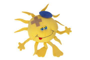soft toy sun with plaster isolated on white background