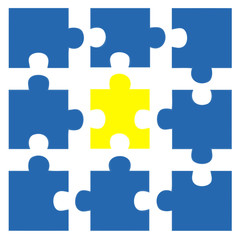 Teamwork Cooperation - blue and yellow puzzle 5 - g853