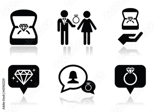 Engagement, diamond ring in box vector icons set
