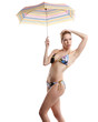 woman in bikini or swimear with umbrella