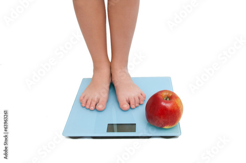 A pair of female legs standing on a bathroom scale with an