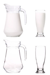 Pitcher and glass of milk.
