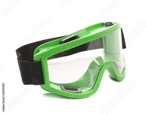 Green snowboarding glasses.