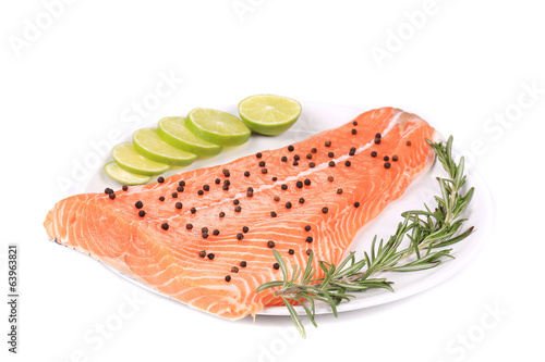 Salmon fillet with rosemary and lemon.