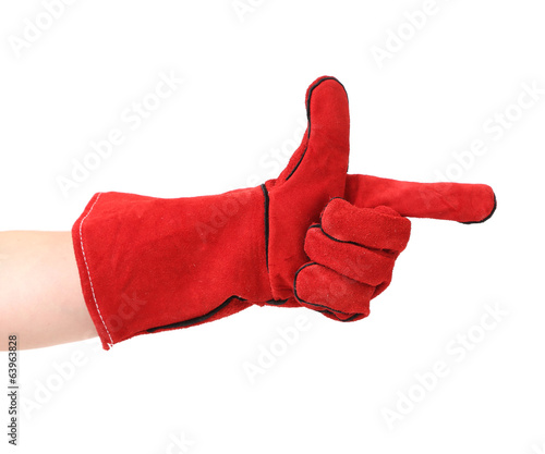 Point finger in red leather work glove.