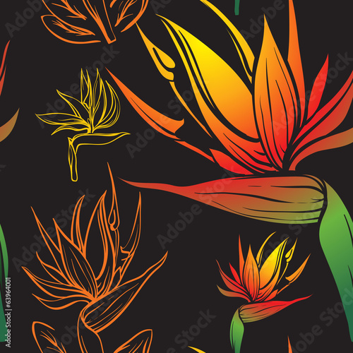 bird of paradise tropic flower seamless texture