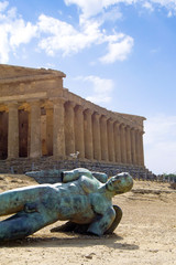 Valley of the Temples with a statue of Icarus, Agrigento