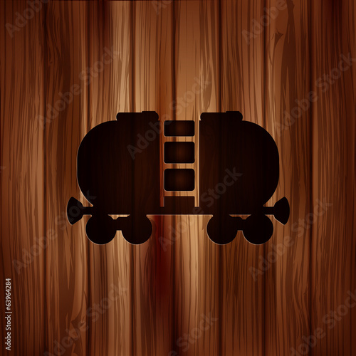 Oil tank icon.Wooden background