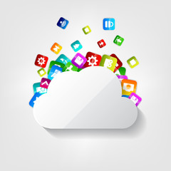 Cloud icon. Application button.