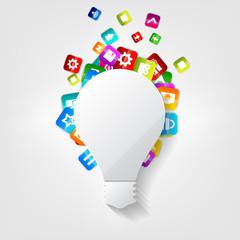 Light bulb icon. Application button.