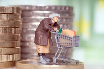 Alte Frau mit Einkaufswagen auf einem Geldstück