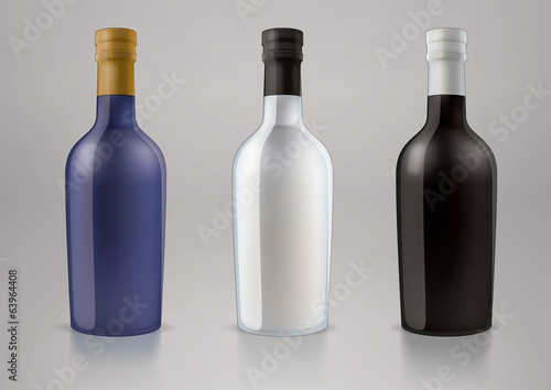 Vector blank alcohol bottles for new design liquor or port wine