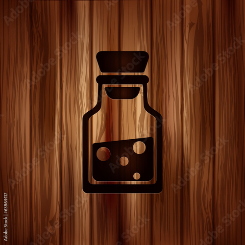 Laboratory medical flask.Wooden background