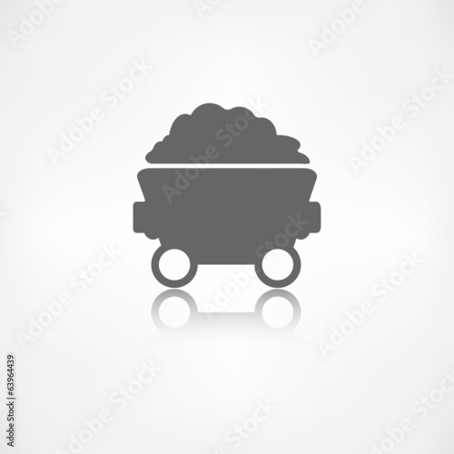 Mining coal cart icon