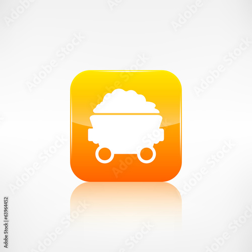 Mining coal cart icon.Application button.
